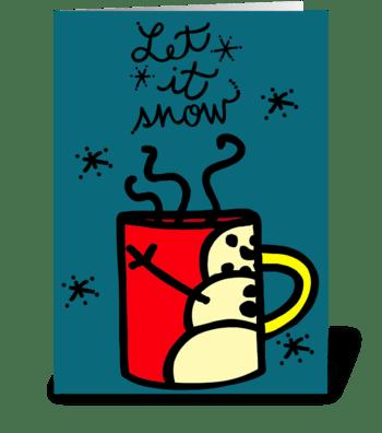 Christmas Snowman Mug greeting card