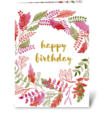 Watercolor floral happy birthday card  greeting card