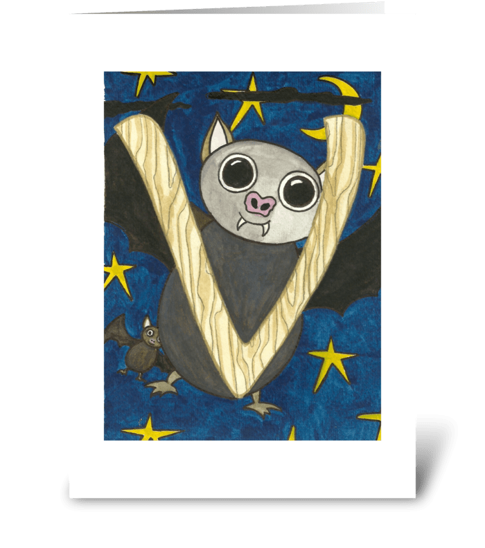 V for Vampire Bat greeting card