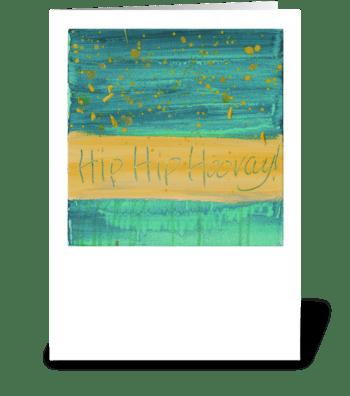Hip Hip Hooray! - Yellow on Green greeting card