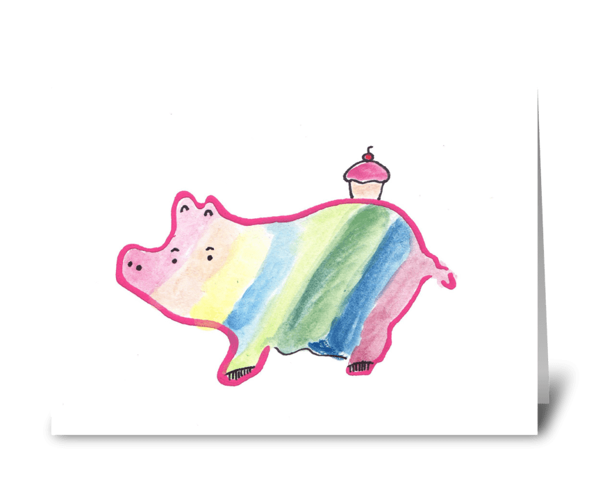 Pig & Cupcake greeting card