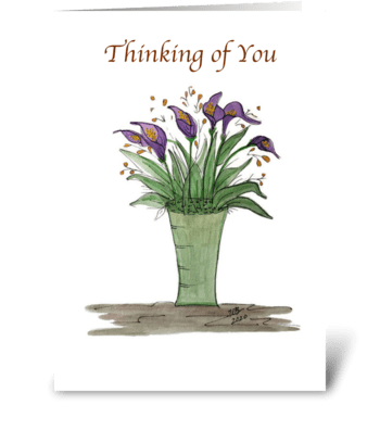 Thinking of You Calla Floral Vase greeting card