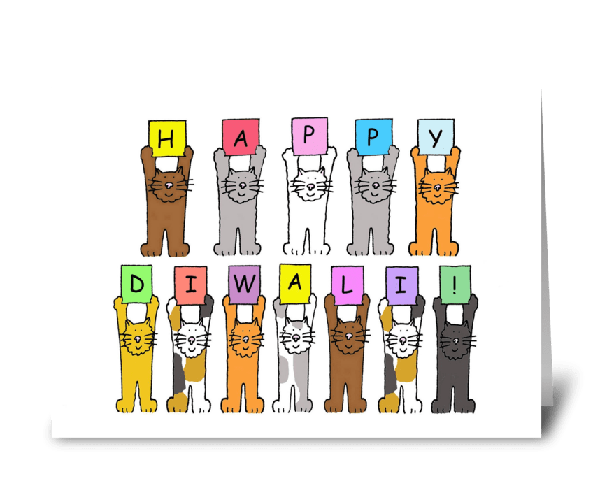Happy Diwali Cats greeting card