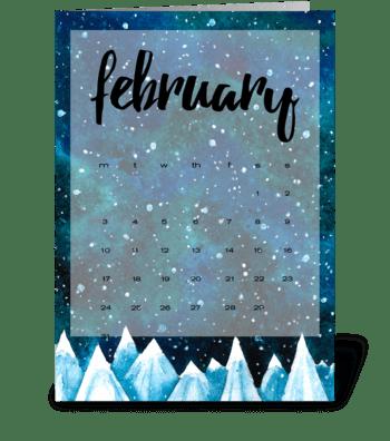 Calendar. February greeting card