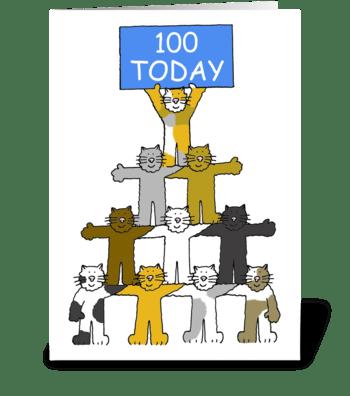 100th Birthday cute, fun cats. greeting card
