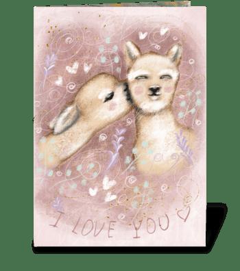 Beautiful fluffy alpacas in retro style greeting card