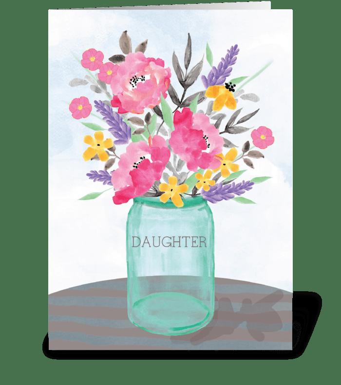 Daughter Mother's Day Mason Jar Vase greeting card