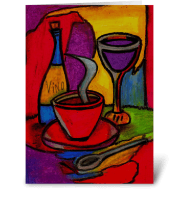 dinner & wine greeting card