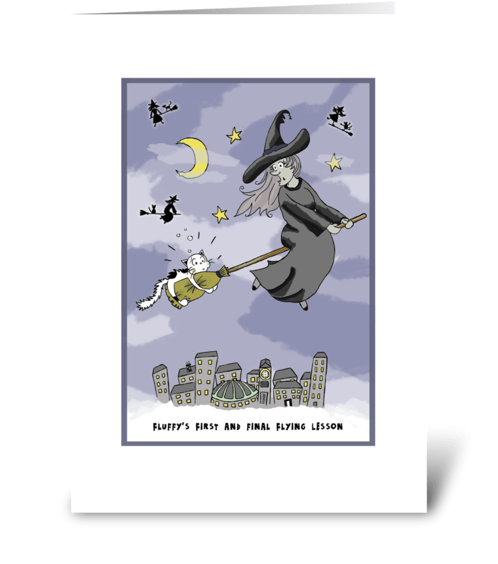 Cat Gets Flying Lessons at Halloween greeting card