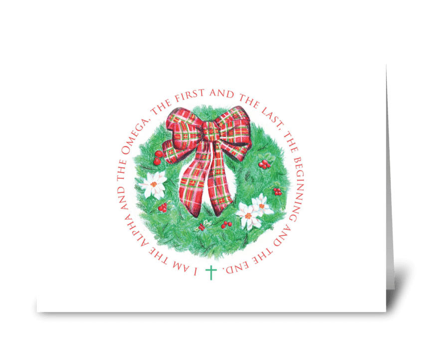 Alpha and Omega Christmas Wreath greeting card
