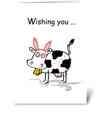 Easter Cow, Funny Humor greeting card