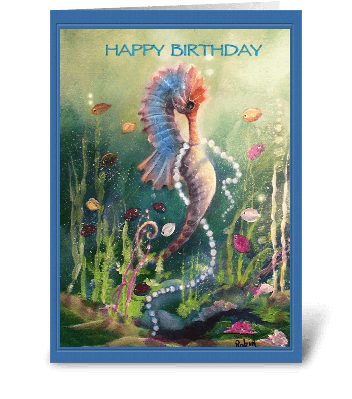SeaHorse, Colorful Happy Birthday greeting card