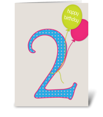 Second birthday greeting card