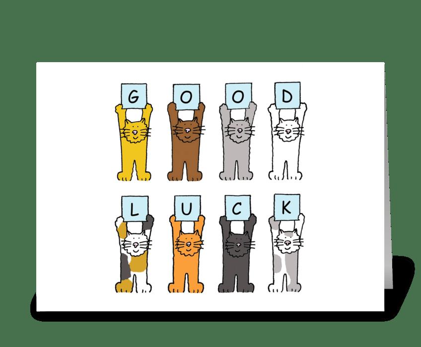 Good Luck, Cartoon Kittens. greeting card
