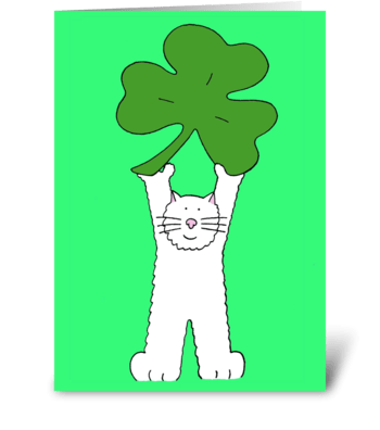 St Patrick's Day cat with shamrock. greeting card