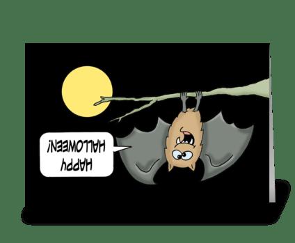 Halloween Card With  Cute Bat Upsidedown greeting card
