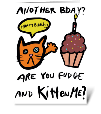 Fudge and Kitten greeting card