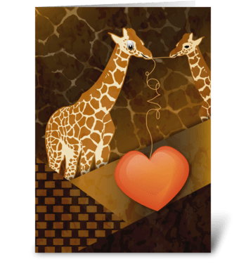 Giraffes and Heart - Valentine's Day greeting card