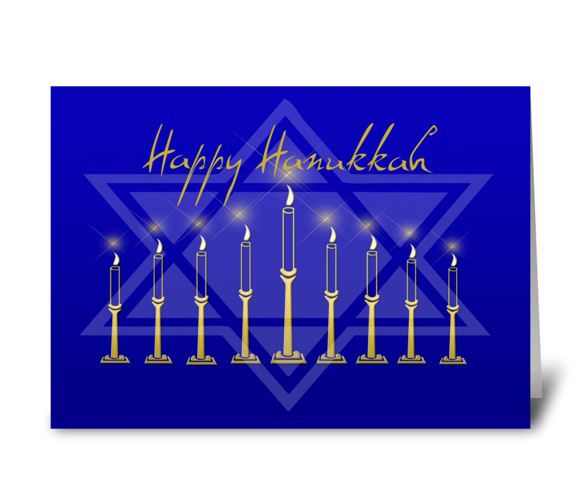 Hanukkah Menorah Star of David greeting card