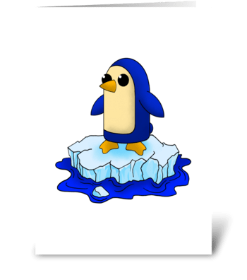 Curious Cute Baby Penguin greeting card