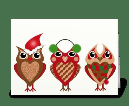 Holiday Owls greeting card