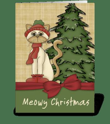 Meowy Christmas Cat & Tree greeting card
