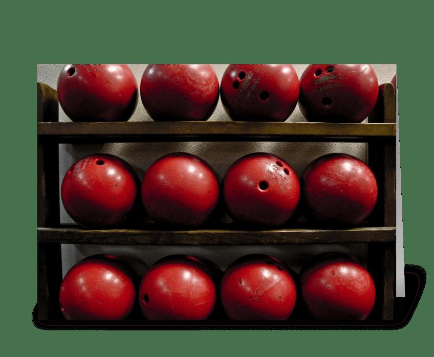 Red Bowling Balls greeting card