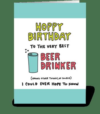 Hoppy Birthday Beer Drinker greeting card