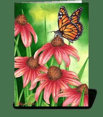 Monarch & Coneflower greeting card