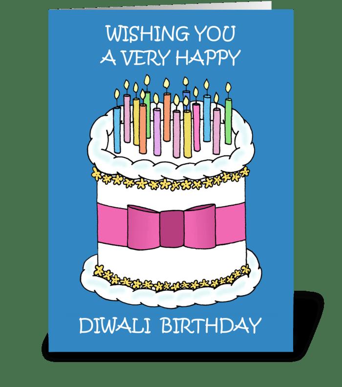 Happy Diwali Birthday. greeting card