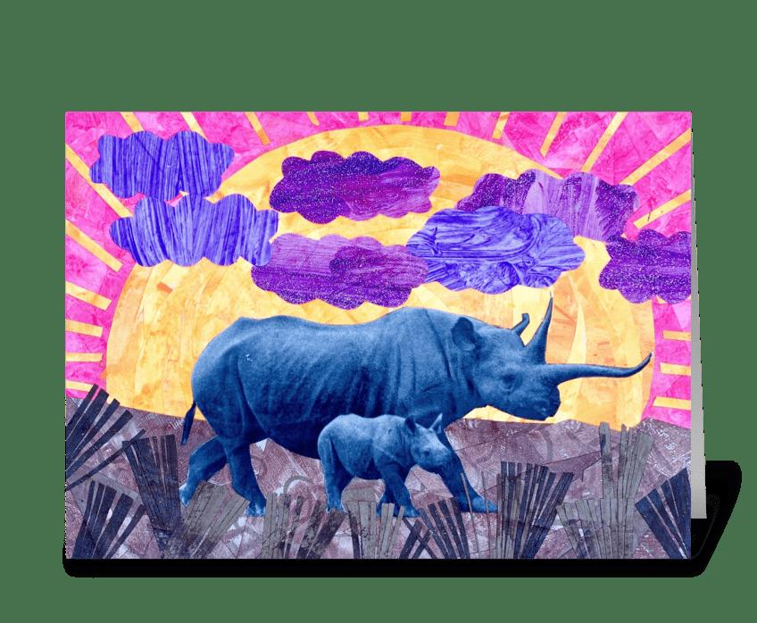 Rhino Baby greeting card