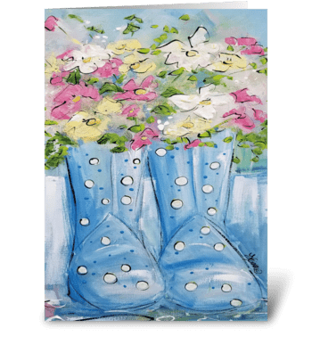 Spring Boots greeting card