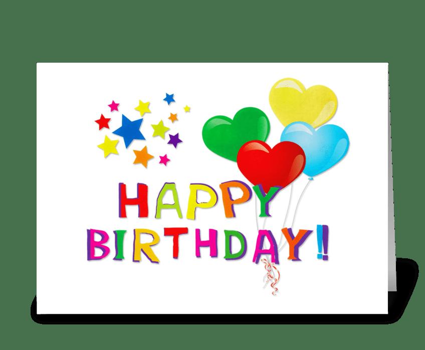 Happy Birthday Balloons, Stars greeting card