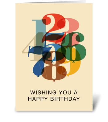 Birthday Numbers greeting card