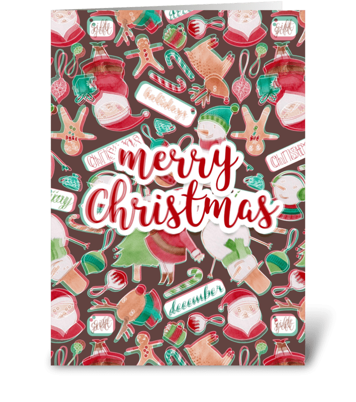 Merry Christmas watercolor card greeting card