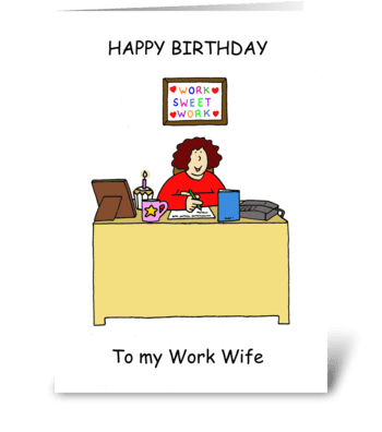 Happy Birthday Work Wife, Cartoon Lady. greeting card