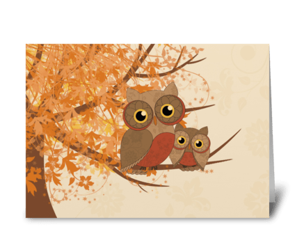 Fall nowls greeting card