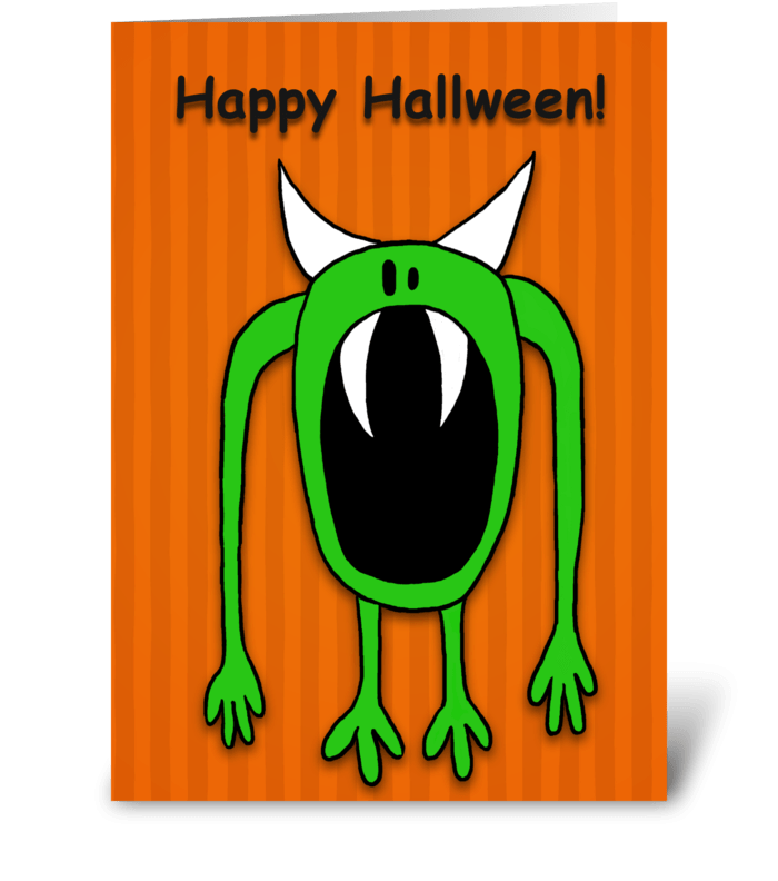 Green Monster Halloween greeting card