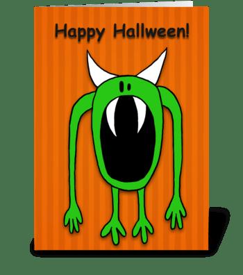 Green Monster Halloween greeting card