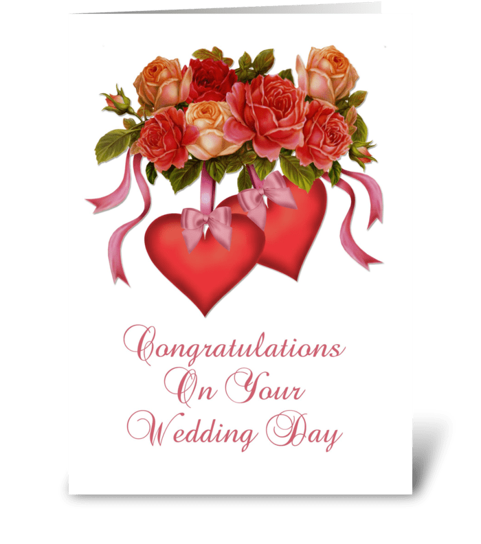 Hearts & Flowers Wedding Congratulations greeting card