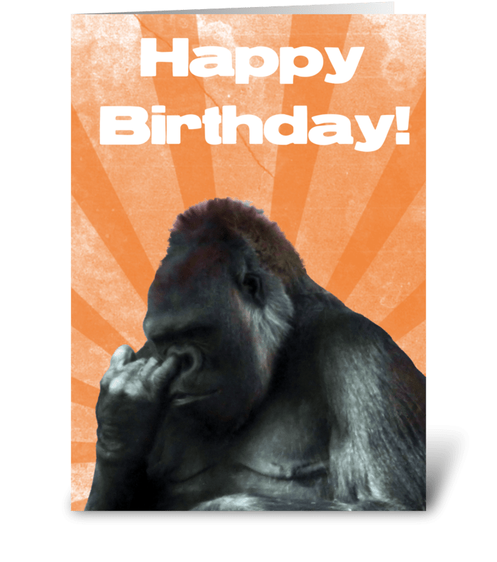 Funny Nose Picking Gorilla greeting card