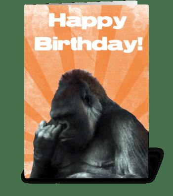 Funny Nose Picking Gorilla greeting card