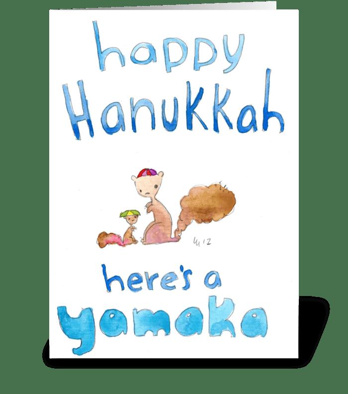 Happy Hanukkah Here's a Yamaka greeting card