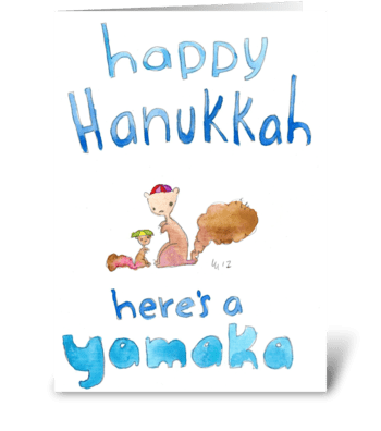 Happy Hanukkah Here's a Yamaka greeting card