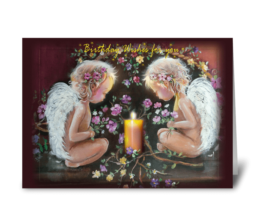 Glowing Angels, Birthday Greeting greeting card