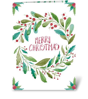 Merry Christmas watercolor floral card greeting card