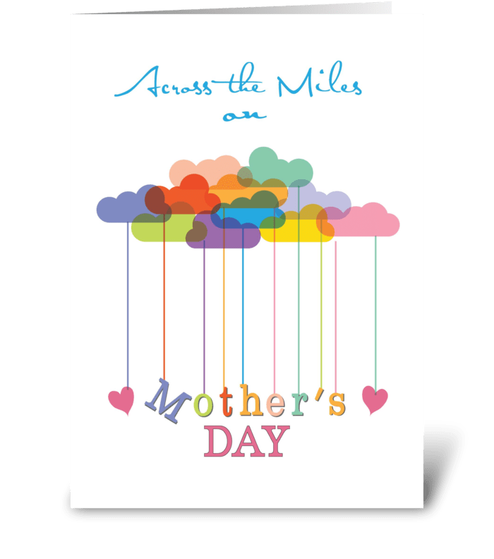 Across the Miles, Cute Mother's Day Rain greeting card