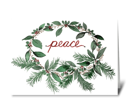 Christmas Peace Wreath Watercolor Card greeting card