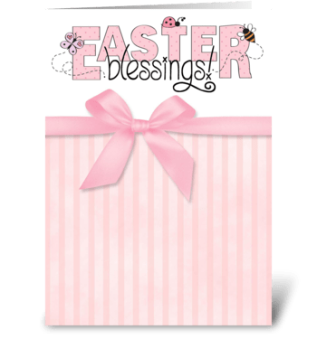 Easter Blessings, pink stripes w/ bow greeting card