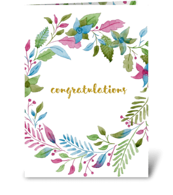 Watercolor floral congratulations card  greeting card